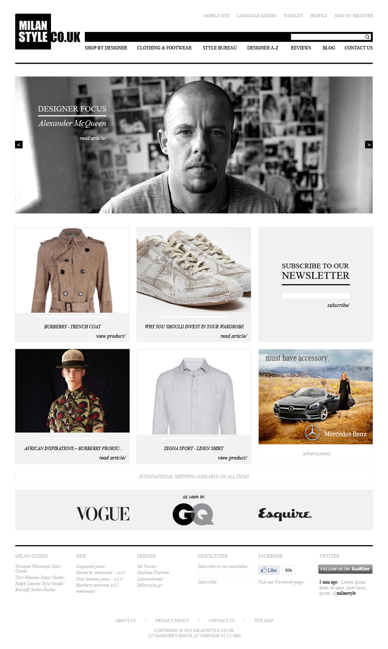 Tom Walsh Design - Milan Style home page